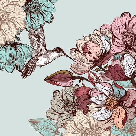 Retro estilo de ilustración o la tarjeta de fecha con flores de magnolia y colibrí