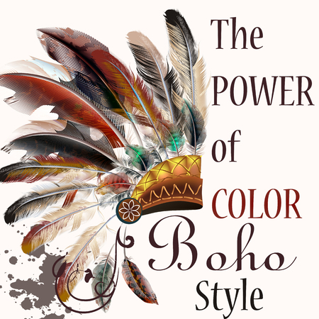 indian tribal headdress: Boho illustration with headdress from feathers tribal background. The power of color