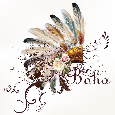 Boho illustration with headdress from feathers tribal  background. Ideal for T-shirt prints