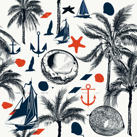 tripping: nautical pattern on marine theme with palms and ships