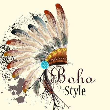 Boho illustration with headdress from feathers tribal background