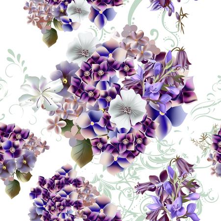 flores moradas: Modelo floral con flores de color púrpura que se detallan en Vectores