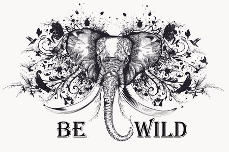 elephant head: Fashion T-shirt print with elephant head and swirls. Be wild