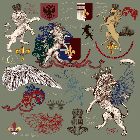eagle shield and laurel wreath: Heraldic antique collection of elements for luxury authentic design. Lions, horse, fleur de lis, ornaments and shields Illustration