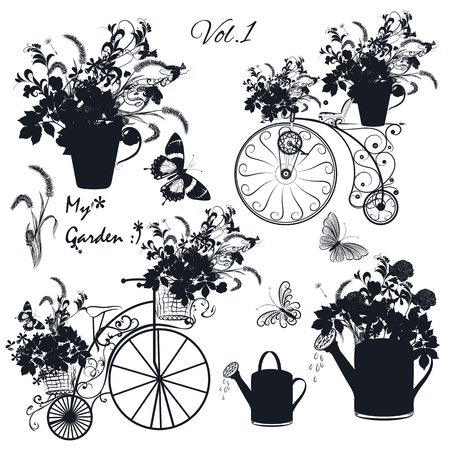 floral objects: Floral collection of objects flowers, pots, bicycles for wedding design Illustration