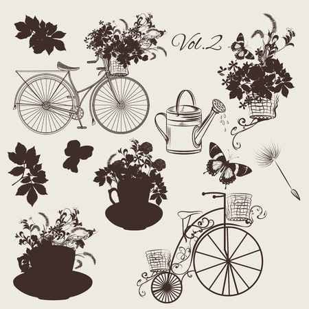 floral objects: Big floral collection of objects flowers, pots, bicycles for wedding design