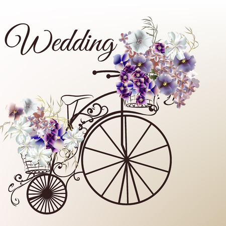 illustration in antique style with retro bicycle and flowers for wedding design