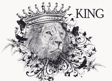 ファッション t シャツ ライオンと王冠と渦巻き頭を印刷します。王  イラスト・ベクター素材