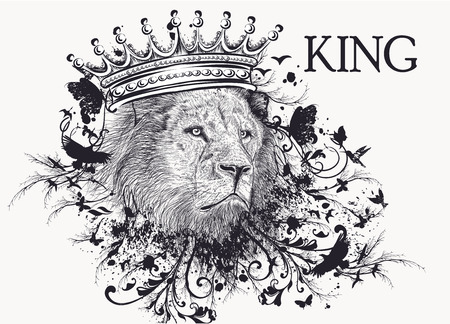 Fashion T-shirt print with lion head in crown and swirls. King Ilustração