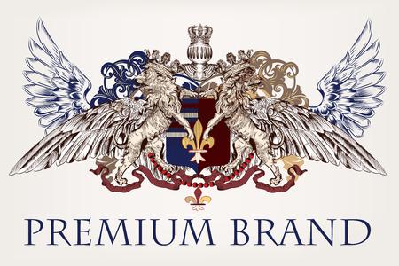 Conception antique héraldique avec le bouclier de lions et les armoiries. Idéal pour les marques, l'identité