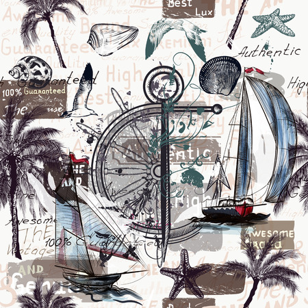 palm tree: Beautiful wallpaper pattern with ships shells and palm trees for design. Sea and vacation theme