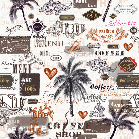 Fashion trendy pattern with retro labels, palms, ornament and spots in vintage authentic style