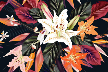 cor: Fashion pattern with flowers and palm leafs on a tropical theme for design