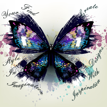 conceptual: Fashion conceptual background with realistic butterfly  find your style in imagination and create designs with inspiration