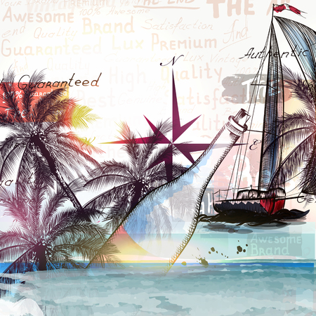 tripping: Beautiful illustration with ship bottle and palm trees for design. Sea and vacation theme