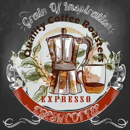 Coffee poster in vintage style drawing  on a blackboard cup, coffee machine grain symbol of inspiration and morning