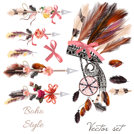 Boho fashion set from decorative elements head dress, arrows, feathers and flowers. Tribal style