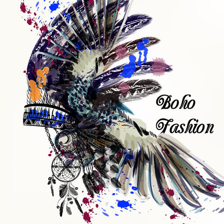 Ethnic fashion illustration with Indian head dress and ink spots boho style. Be wild