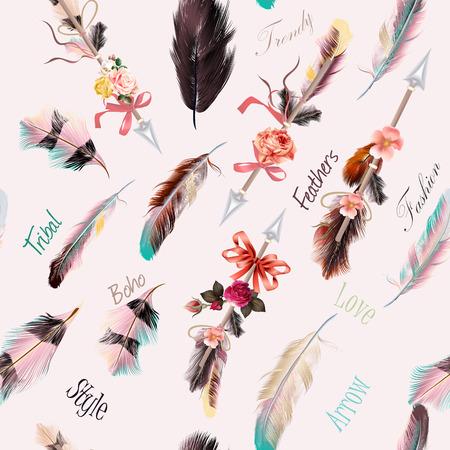 Beautiful ethnic fashion illustration with feathers boho style. Be wild Vettoriali
