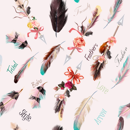 Beautiful ethnic fashion illustration with feathers boho style. Be wild Vectores
