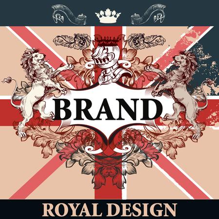nobel: Heraldic elegant design with British flag, lions, ornament and frame, royal design. Ideal for identity, menu, T-shirt prints