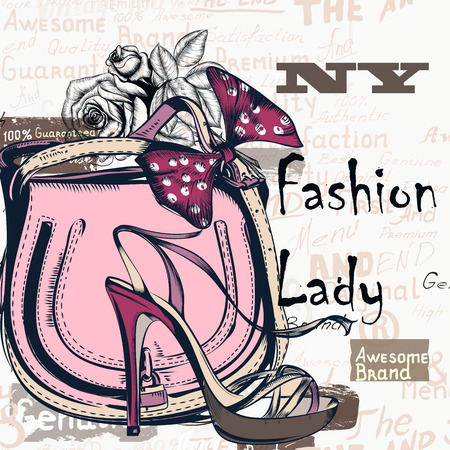 Fashion background with trendy bag and female shoe on high heels. Stylish lady concept