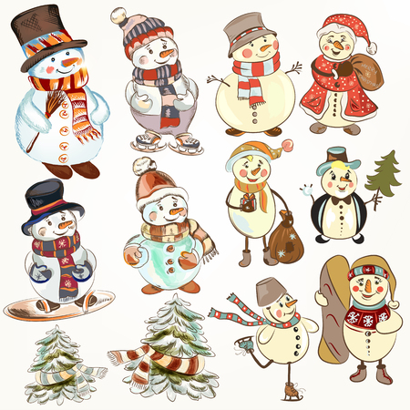 christmas cute: Cute Christmas collection of snowmen for festive design. Cartoon style