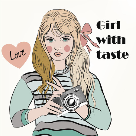 inked: Fashion trendy girl with cute retro camera