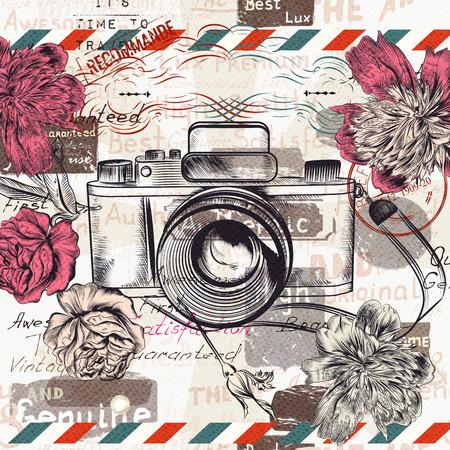 macchina fotografica: illustrazione d'epoca o cartolina con fotocamera retrò e fiori per il design Vettoriali