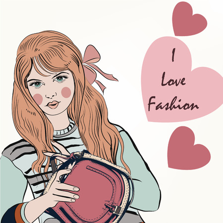 trendy girl: Fashion trendy girl with cute stylish bag and hearts