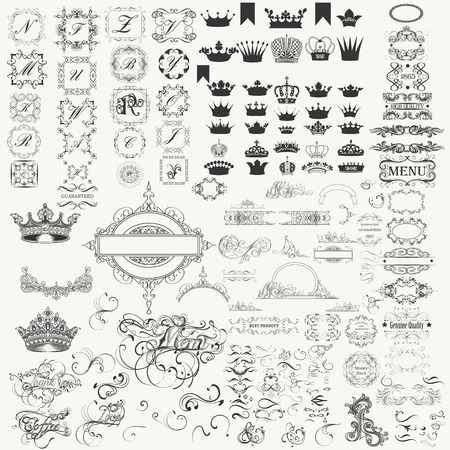 Mega super collection of calligraphic flourishes, crowns, borders and many other. Victorian style Illustration