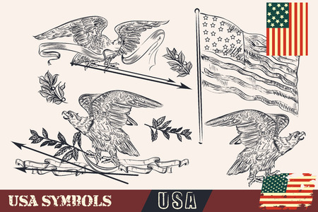 flags usa: Hand drawn USA symbols in vintage style. Eagles, wreath and flags