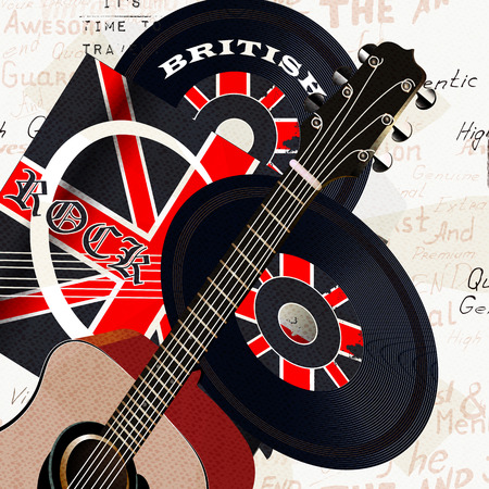 gb: Music creative grunge background with retro vinyl disc, GB flag and acoustic guitar Illustration