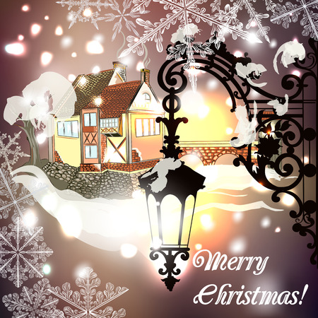 snow landscape: Christmas greeting card with lights, snowflakes and house in snow. Merry Xmas