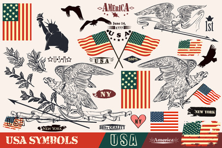 flags usa: Big set of hand drawn USA symbols in vintage style. Eagles, wreath and flags