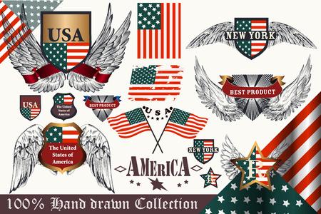 design elements: Big set of hand drawn badges and labels USA symbols in vintage style