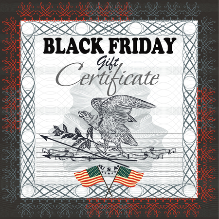 biggest animal: Black Friday gift certificate with flag, USA eagle