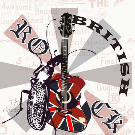gb: Music creative grunge with GB flag and acoustic guitar