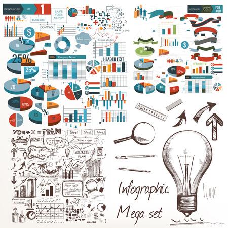 Big infographic and diagram business design elements vector set Illustration