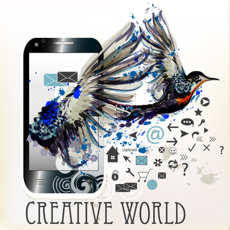 world receiver: Abstract blank screen phone with ink spots and hummingbird. Creative world