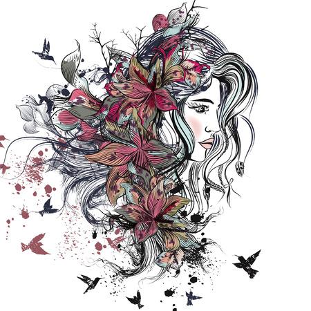 Ejemplo de la moda con el arte dibujado a mano la cara femenina hermosa detallada con el pelo largo, manchas, flores del lirio y de las aves. estilo boho