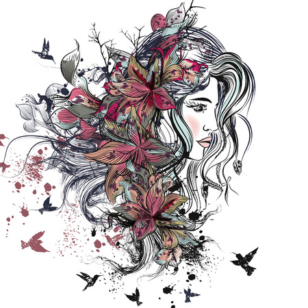 Art fashion illustration with hand drawn detailed beautiful female face with long hair, spots, lily flowers and birds. Boho style Illustration