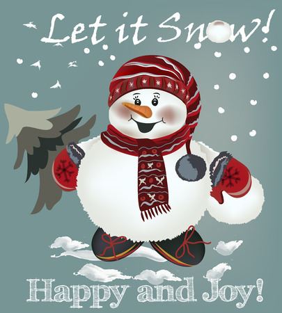 christmas cute: Cute Christmas greeting card with pretty snowmen holding Xmas tree and snowball. Let it snow