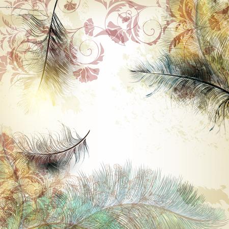 Fondo de moda de arte con plumas y flores Ilustración de vector