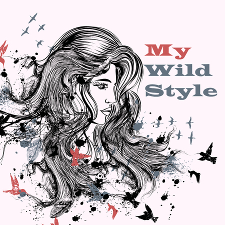 hair style fashion: Art fashion illustration with hand drawn detailed beautiful female fface with long hair, spots and birds. Boho wild style