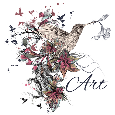 vintage flower: Art vector illustration with hummingbird, lily, ink and grunge texture. Symbol of creativity