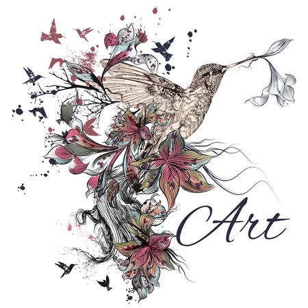 Kunst vector illustratie met kolibrie, lelie, inkt en grunge textuur. Symbool van creativiteit Stock Illustratie