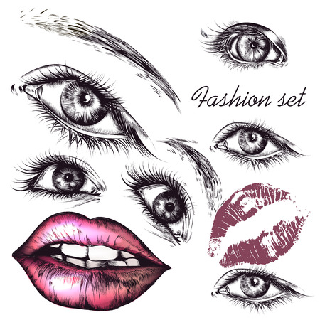 beautiful eyes: A collection or set of beautiful realistic female eyes and lips for design