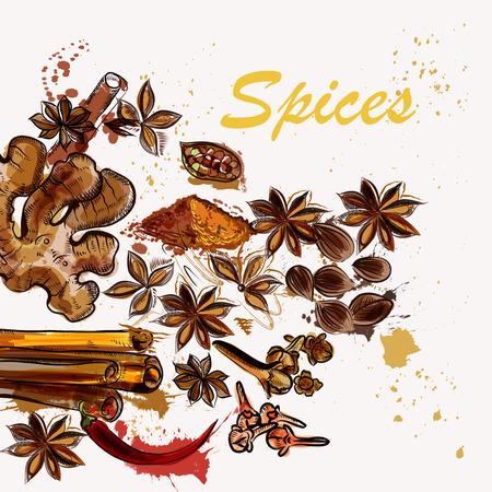 Kuchnia kreatywne tło z gwiazd anyżu, pieprzu, imbiru i nieczysty plamy Ilustracje wektorowe