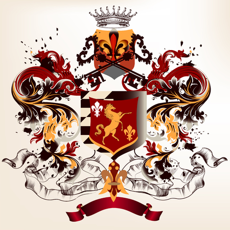 Heraldic design in vintage style with shield, crown and ornament Illustration